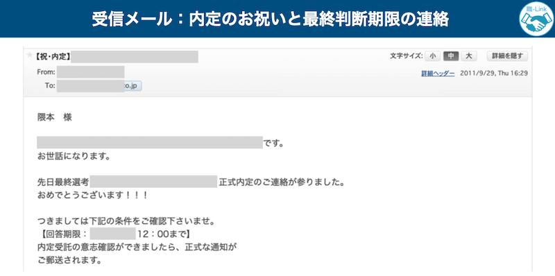 内定の連絡メール